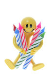 Rubber Figure Holding Birthday Candles. On White Background Stock Images