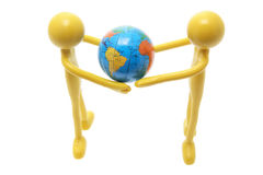 Rubber Figures with Globe royalty free stock photography