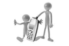 Rubber Figures with Mobile Phone Stock Image