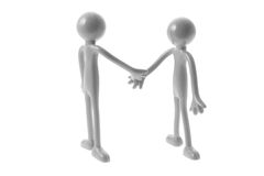 Rubber Figures Shaking Hands. On White Background Stock Photography