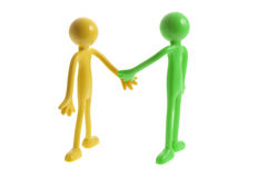 Rubber Figures Shaking Hands Royalty Free Stock Image