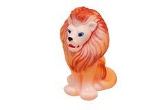 Rubber figurine av en lion. Barns toy. Royaltyfri Foto