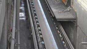 Rubber fire resistant conveyor belt. stock footage