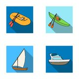 A rubber fishing boat, a kayak with oars, a fishing schooner, a motor yacht.Ships and water transport set collection. Icons in flat style vector symbol stock Stock Photo