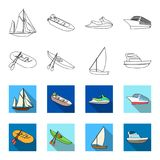 A rubber fishing boat, a kayak with oars, a fishing schooner, a motor yacht.Ships and water transport set collection. Icons in outline,flet style vector symbol Stock Image