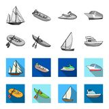A rubber fishing boat, a kayak with oars, a fishing schooner, a motor yacht.Ships and water transport set collection. Icons in monochrome,flat style vector Royalty Free Stock Image