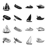 A rubber fishing boat, a kayak with oars, a fishing schooner, a motor yacht.Ships and water transport set collection. Icons in black,monochrome style vector Stock Images