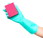 Rubber glove with sponge Royalty Free Stock Image