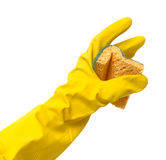 Rubber glove with sponge Royalty Free Stock Images