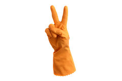 Rubber glove with victory sign Stock Photos