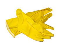 Rubber gloves. Yellow rubber gloves isolated on a white background Stock Photography
