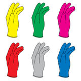 Rubber Gloves. Six illustration of colors rubber gloves Royalty Free Stock Image
