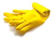 Rubber gloves. On white background Stock Photos