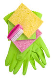 Rubber Gloves and Brightly colored sponges Royalty Free Stock Photos