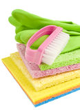 Rubber Gloves and Brightly colored sponges Royalty Free Stock Photo