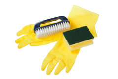 Rubber gloves, brush and sponge. Stock Images