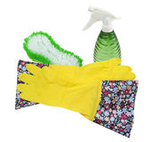 Rubber gloves, brush and Spray Bottle Royalty Free Stock Photos