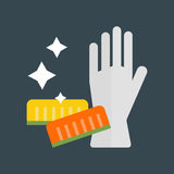 Rubber gloves and cellulose sponges flat icon vector illustration. Glove for hygiene cleaning and cellulose sponges wash work protection. Rubber tool cartoon Stock Photos