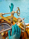 Rubber gloves for fishing boats Stock Images