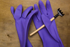 Rubber gloves for garden Royalty Free Stock Photography