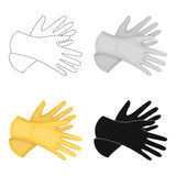Rubber gloves icon in cartoon style isolated on white background. Cleaning symbol stock vector illustration. Stock Image