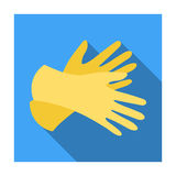 Rubber gloves icon in flat style isolated on white background. Cleaning symbol. Royalty Free Stock Photos
