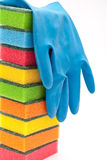 Rubber gloves and kitchen sponges Royalty Free Stock Photo
