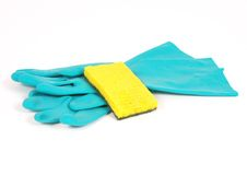 Rubber gloves and sponge Stock Photos