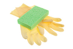 Rubber Gloves and Sponge Stock Images