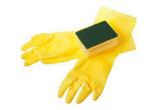 Rubber gloves and a sponge. Stock Image