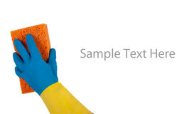 Rubber gloves and sponge with copy space Stock Images