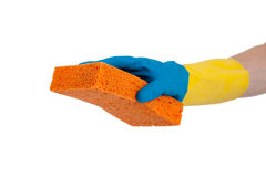 Rubber gloves and sponge with copy space Royalty Free Stock Image