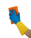 Rubber gloves and sponge with copy space Royalty Free Stock Images