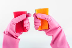 Rubber gloves with sponge. On a white background stock images