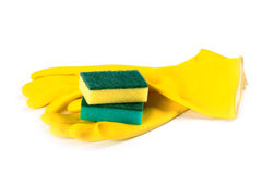 Rubber gloves and sponges Royalty Free Stock Photo