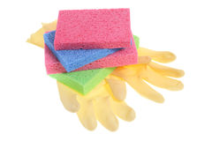 Rubber Gloves and Sponges Royalty Free Stock Photography