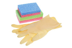 Rubber Gloves and Sponges Royalty Free Stock Image