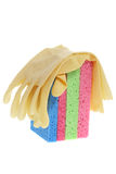 Rubber Gloves and Sponges Stock Image