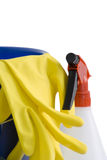 Rubber gloves and spray bottle Royalty Free Stock Photo