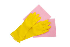 Rubber gloves and two cleaning napkins Stock Photo