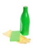 Rubber Handschoen met Spons en Schoonmakend Detergens stock fotografie