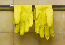 Rubber handskar mot kök vägg Arkivfoto