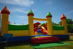 Free Rubber Inflatable And Colorful Castle For Kids To Jump And Play Royalty Free Stock Images - 171703189