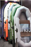 Rubber inflatable boats for fishing in sport goods store Royalty Free Stock Photos