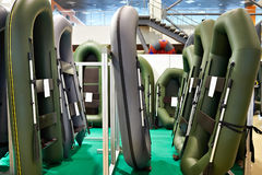 Rubber inflatable boats for fishing in sport store Stock Photo
