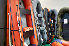 Rubber inflatable boats for fishing in sport store Stock Image