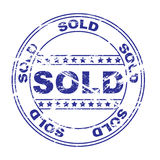 Rubber ink stamp: sold (vector) Stock Image