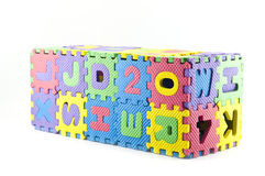 Rubber jigsaw puzzle box isolated. Stock Photo
