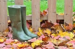 Rubber kängor på leaves Royaltyfria Bilder