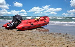 Rubber lifeguard boat Stock Photos